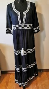 Muche et Muchette Long Black Beaded Cotton Dress